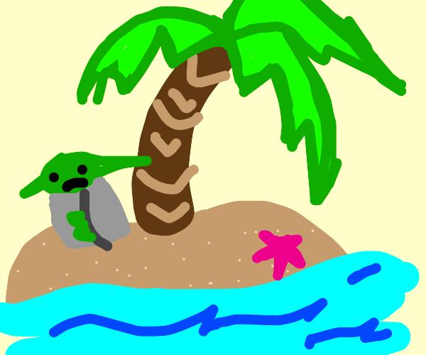 yoda is marooned on a tropical island