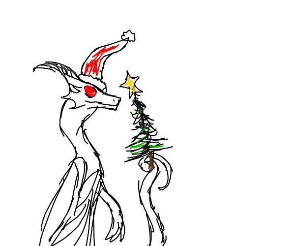 dragon lady in christmas mood