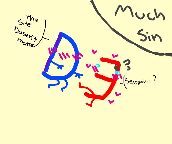 Drawception D bonking a red E