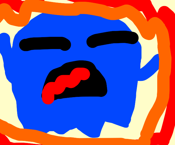 blue pacman ghost on fire