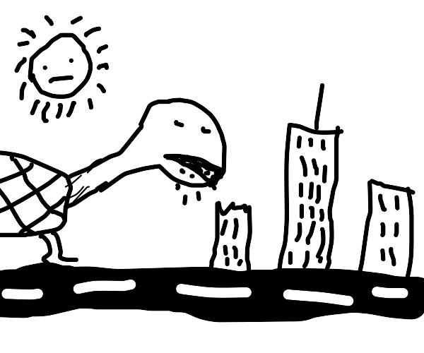 Giant turtle eats building