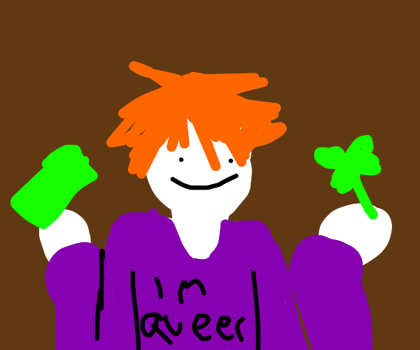 queer ginger with a clover and money