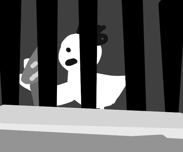Psycho chicken is stuck in prison