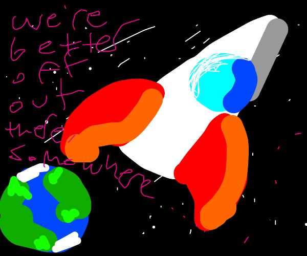 Rocket Leaves Earth Forever
