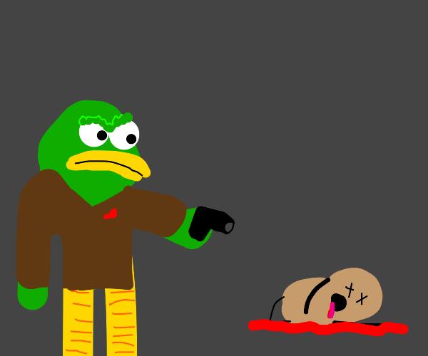 Duck absolutely murders peanut