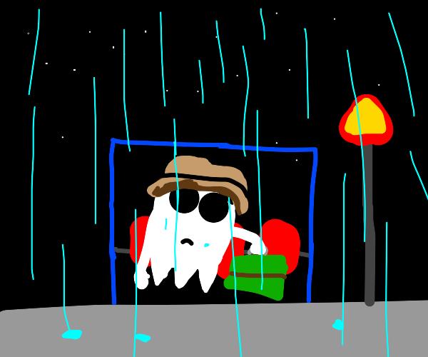 sad ghost in the rain