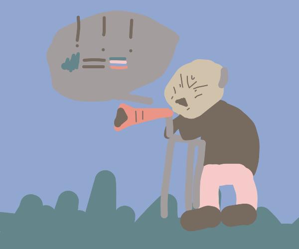 old man making an announcemen about gay grass