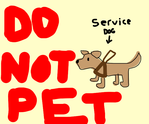 warning on NEVER petting a service dog