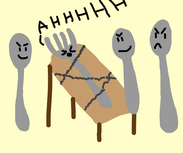 fork being tortured by 3 spoons