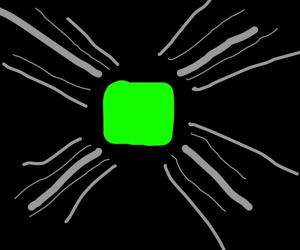 Green square in the center of a striped void