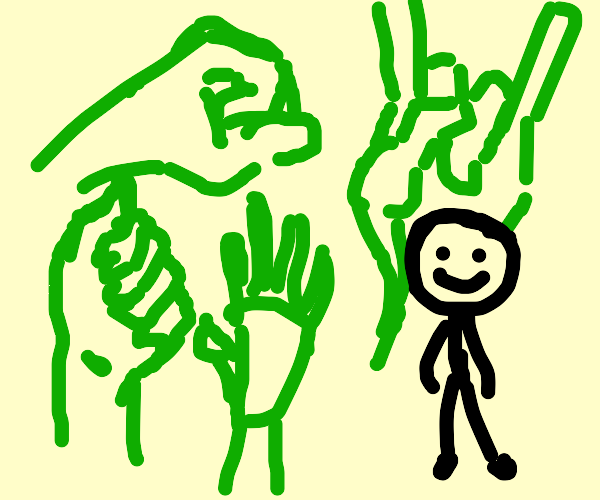 Green hands with stick man