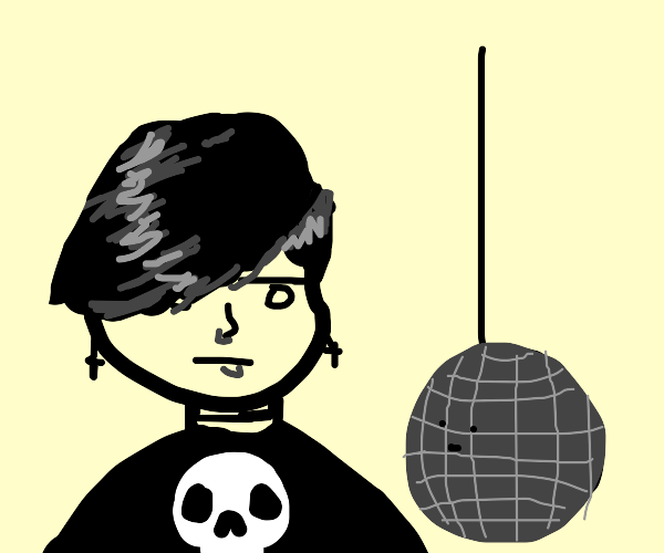 edgy person gives death glare to disco bowl