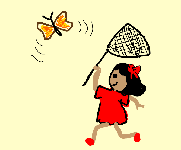 Catching a butterfly