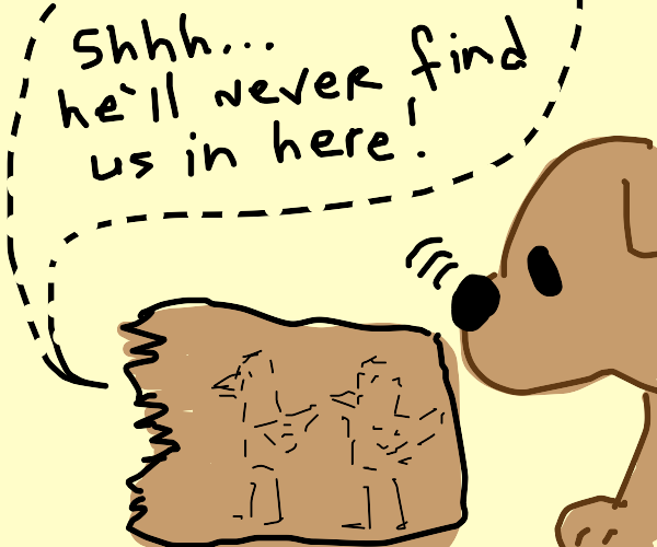 Two birds hide from a dog inside a paper bag.