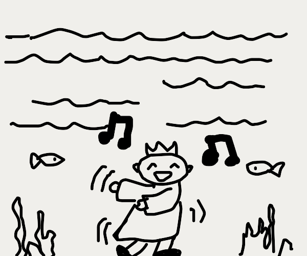 a king dances underwater to music