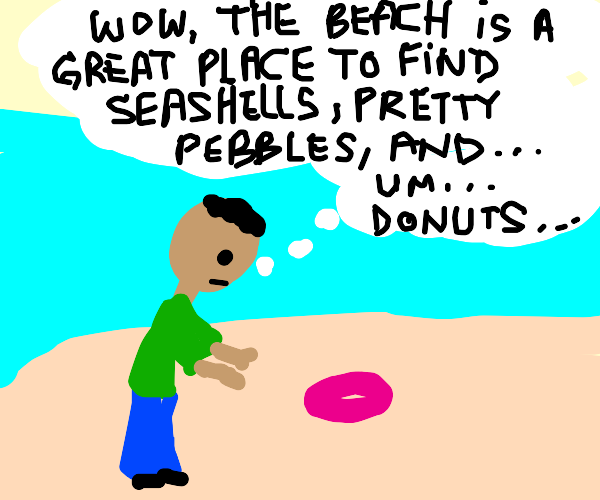 A doughnut washed up on the beach