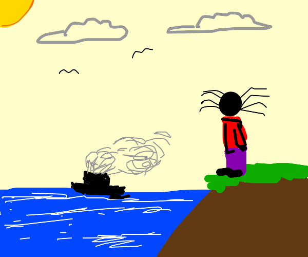 Spider-headed child stands by the sea