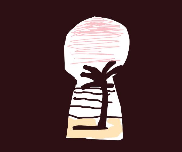 Beach in a keyhole