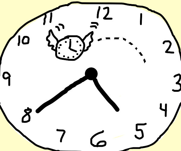 A clock flying in a clock
