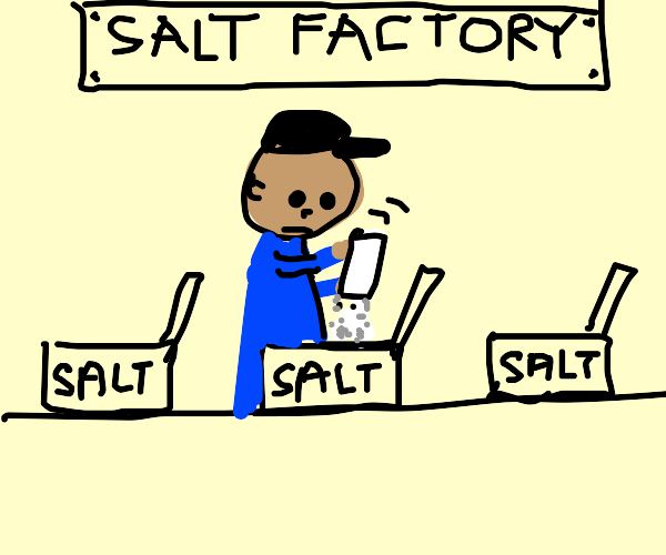 "dark man puts salt in a box labeled ""salt"""