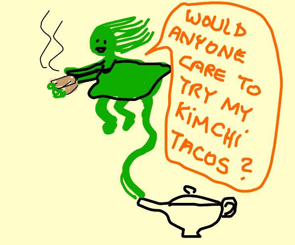 green female genie offers food
