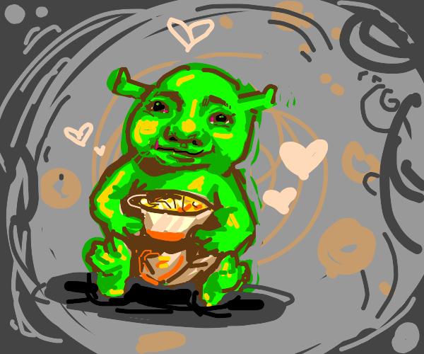 Baby shrek likes noodles