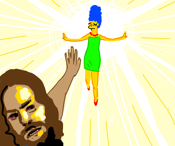 An epic brawl between Marge Simpson and Jesus