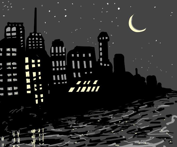 riverside city at night