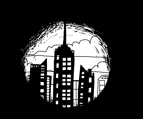 Abstract city in a dark world