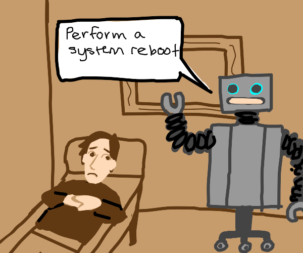 Man gets therapy from a robot