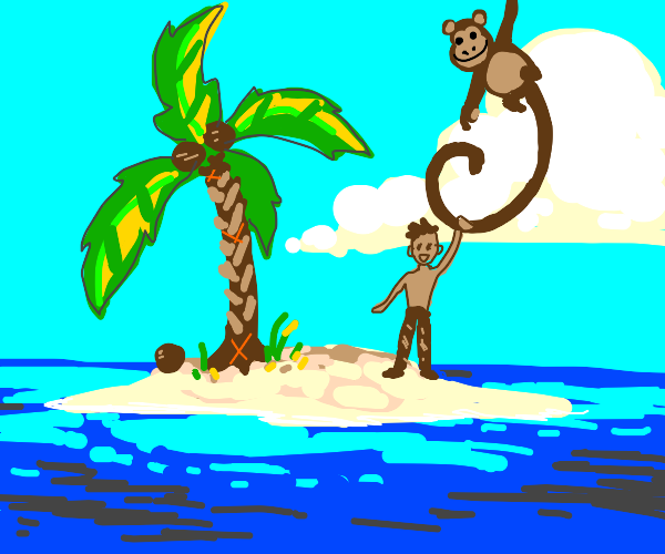 monkey rescues man from island