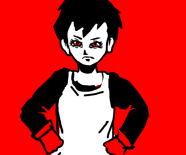 Short haired Videl in an apron
