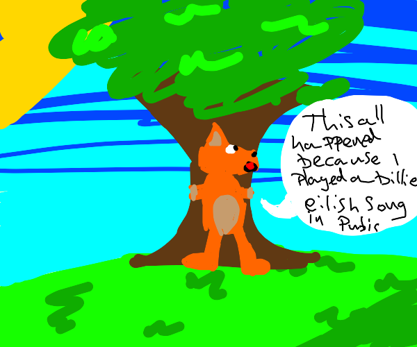 Fox tied to a tree