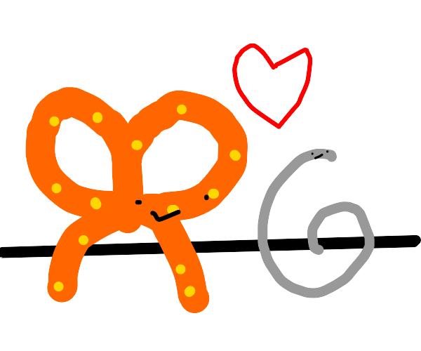 Pretzel stick finds true love: A string