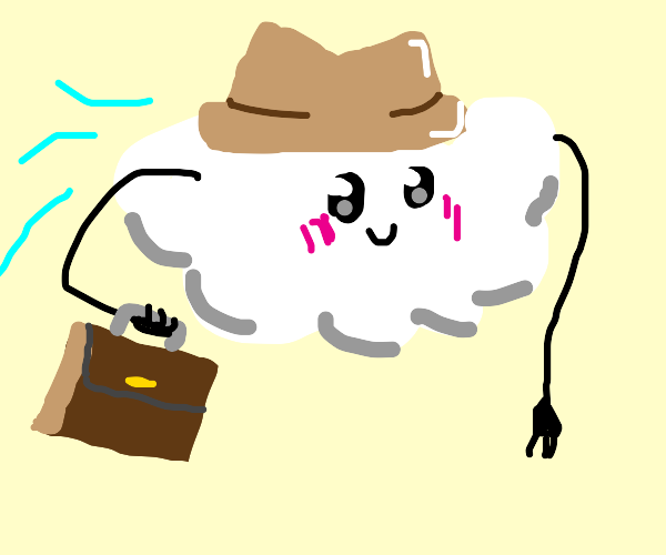 A happy cloud man flying to work