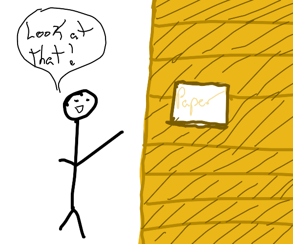 Stickman tells you to look at a paper