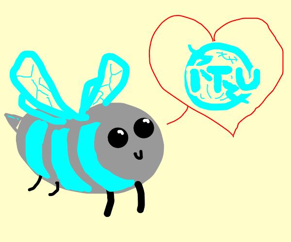 """Grey bee with blue wings loves """"itu"""""""