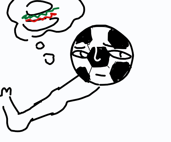 soccerbal with leg&face craving for hamburger