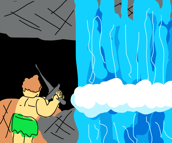 half naked guy confronts waterfall with sword