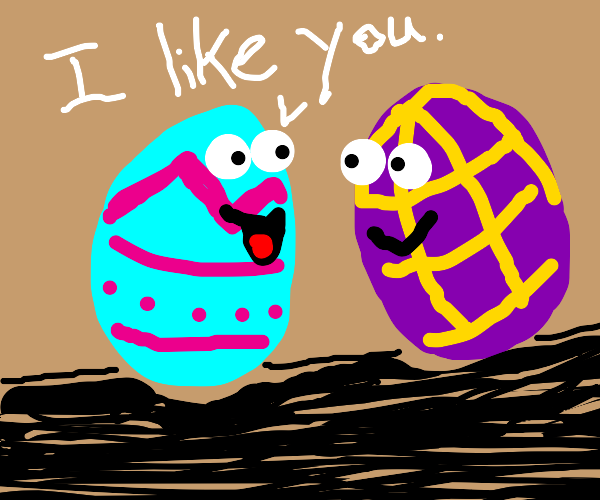 Coloured eggs take a liking to eachother