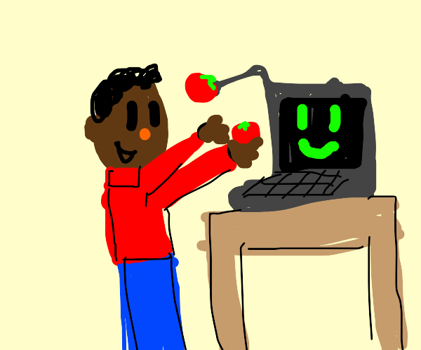 Man and laptop feed each other tomatoes