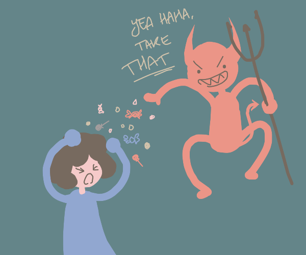 Devil throws candy at girl