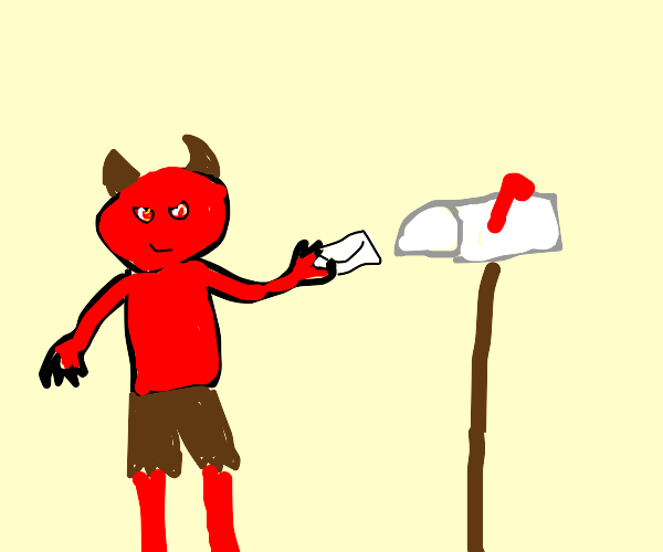 devil putting some mail in the mail box