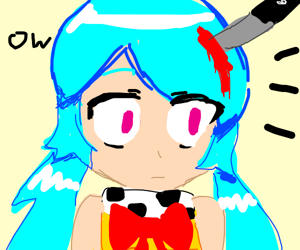 Anime girl is hurt by a knife