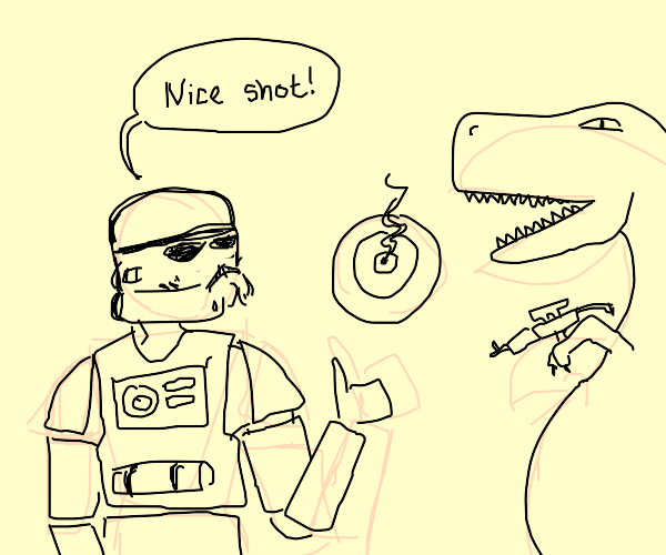 Dino has better aim than a storm trooper