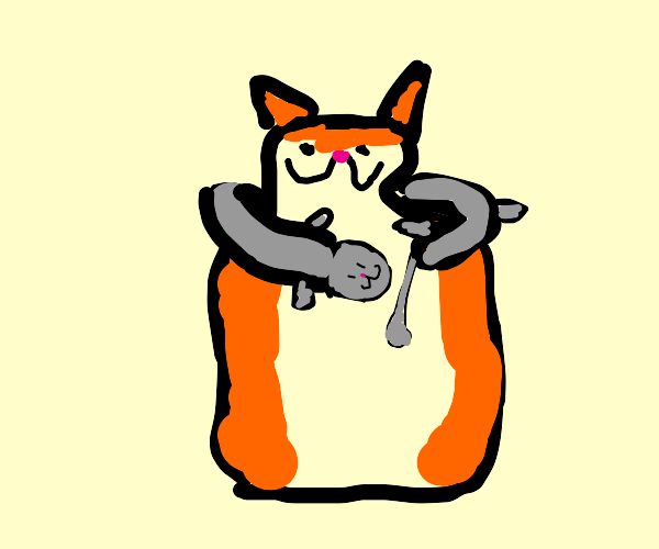 A long cat used as a scarf
