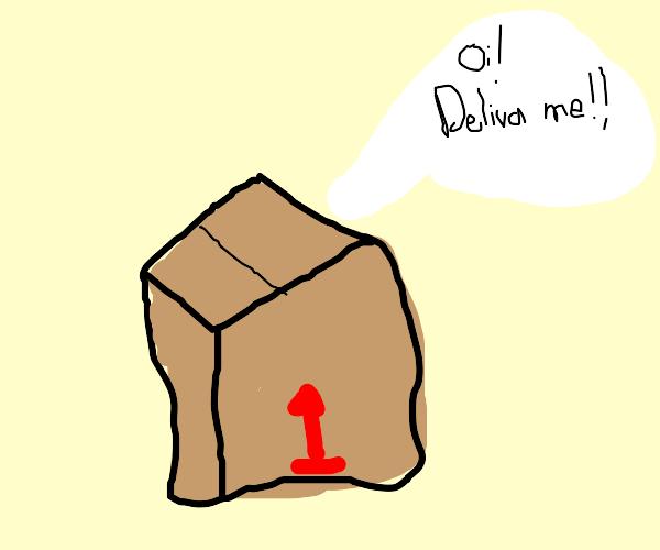 A talking package orders people around