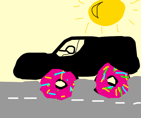 black car with sprinkle donuts for wheels.