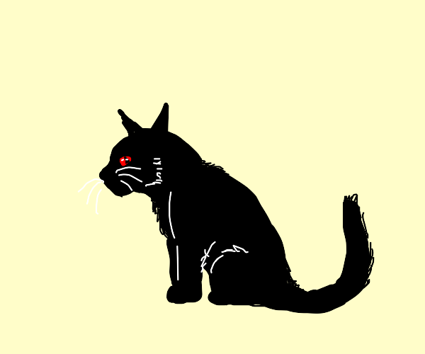 black cat with red eyes