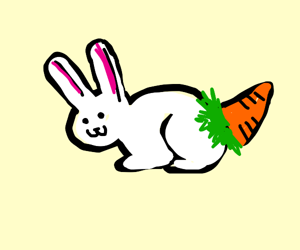 a bunny but his tail is actually a carrot